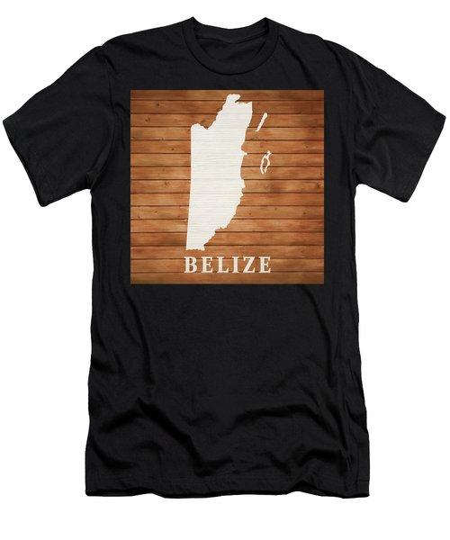 Belize Rustic Map On Wood Men's T-Shirt (Athletic Fit)