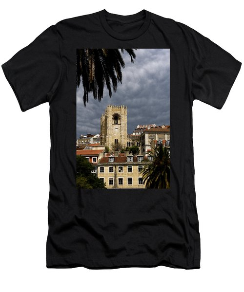 Men's T-Shirt (Slim Fit) featuring the photograph Bell Tower Against Roiling Sky by Lorraine Devon Wilke