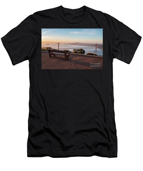 Bench Overlooking Downtown San Francisco And The Golden Gate Bri Men's T-Shirt (Athletic Fit)