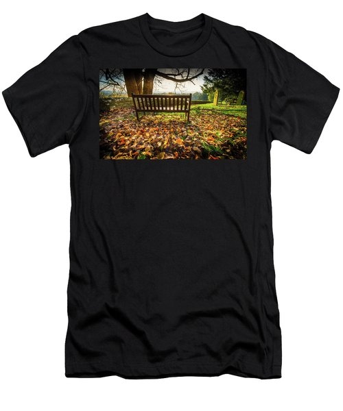 Bench With Autumn Leaves Men's T-Shirt (Athletic Fit)