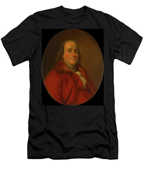 Men's T-Shirt (Slim Fit) featuring the painting Benjamin Franklin by Workshop Of Joseph Duplessis