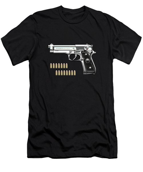 Beretta 92fs Inox With Ammo On Black Velvet  Men's T-Shirt (Athletic Fit)