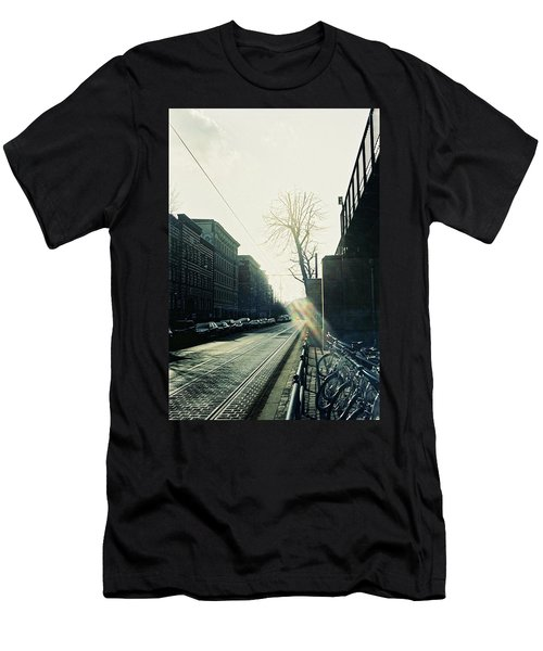 Berlin Street With Sun Men's T-Shirt (Athletic Fit)