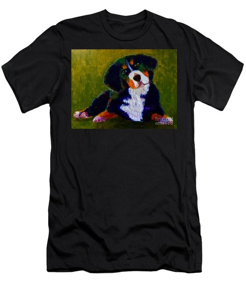 Men's T-Shirt (Slim Fit) featuring the painting Bernese Mtn Dog Puppy by Donald J Ryker III