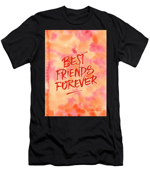 Best Friends Forever Handpainted Abstract Watercolor Pink Orange Men's T-Shirt (Athletic Fit)