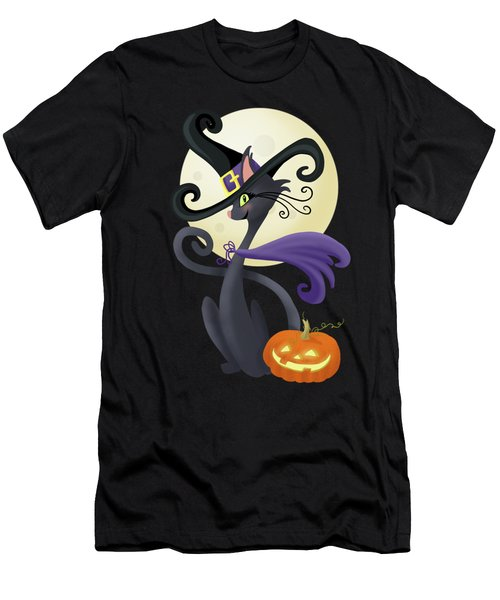 Bewitching Halloween Black Cat Men's T-Shirt (Athletic Fit)