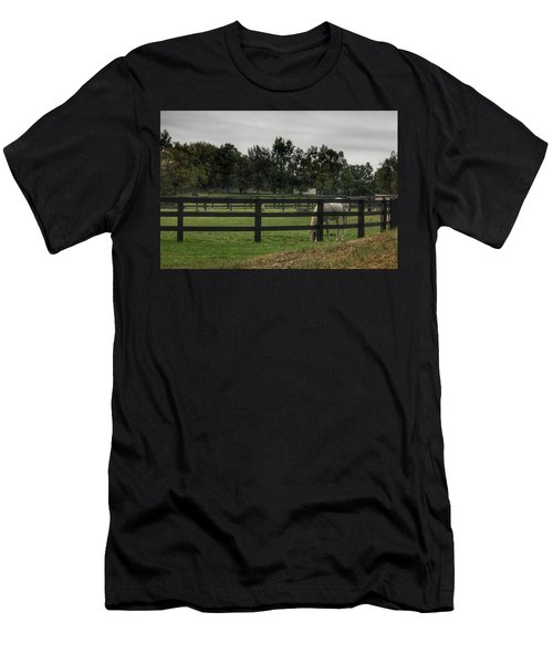1004 - Beyond The Fence White Horse Men's T-Shirt (Athletic Fit)