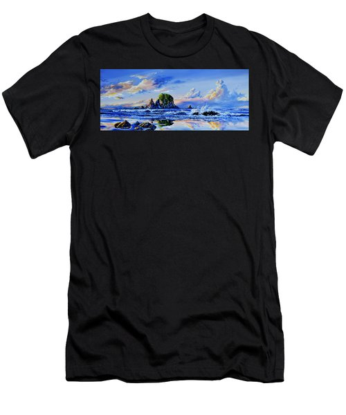 Men's T-Shirt (Athletic Fit) featuring the painting Beyond The Shore by Hanne Lore Koehler