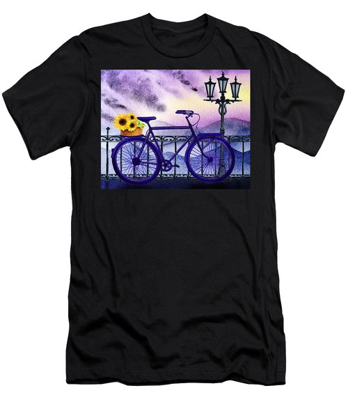 Blue Bicycle And Sunflowers By Irina Sztukowski  Men's T-Shirt (Athletic Fit)