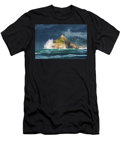 Big Waves Over San Juan De Gaztelugatxe Men's T-Shirt (Athletic Fit)