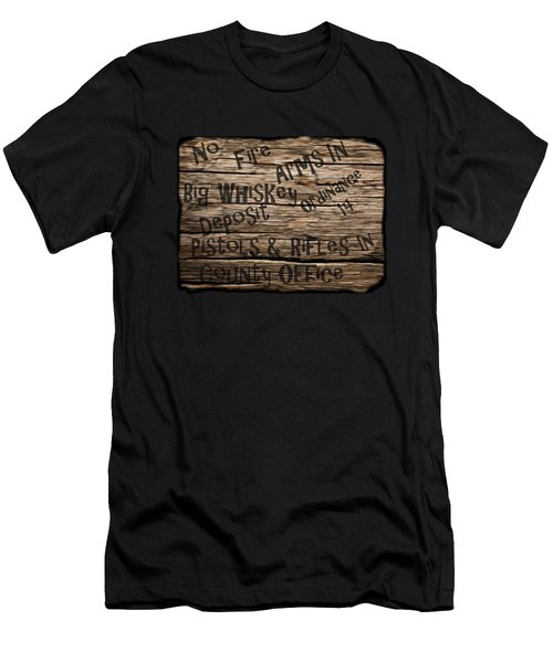 Men's T-Shirt (Slim Fit) featuring the drawing Big Whiskey Fire Arm Sign by Movie Poster Prints