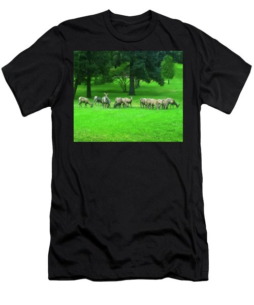 Men's T-Shirt (Slim Fit) featuring the digital art Bighorn Sheep Ewes  by Chris Flees