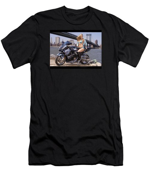 Bike, Babe, And Bridge In The Big Apple Men's T-Shirt (Slim Fit) by Lawrence Christopher