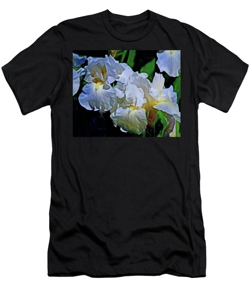 Men's T-Shirt (Athletic Fit) featuring the mixed media Billowing White Irises by Lynda Lehmann