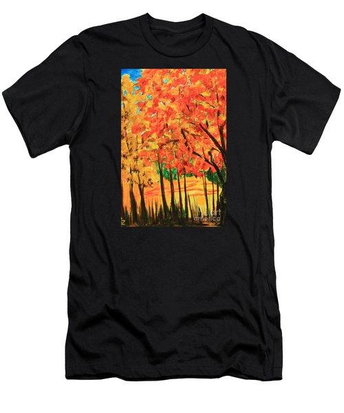 Birch Tree /autumn Leaves Men's T-Shirt (Athletic Fit)