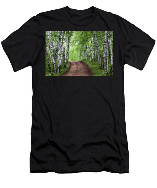 Men's T-Shirt (Athletic Fit) featuring the photograph Birch Tree Forest Path #3 by Patti Deters