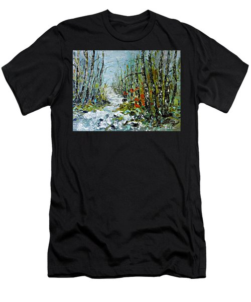 Men's T-Shirt (Slim Fit) featuring the painting Birches Near Waterfall by AmaS Art
