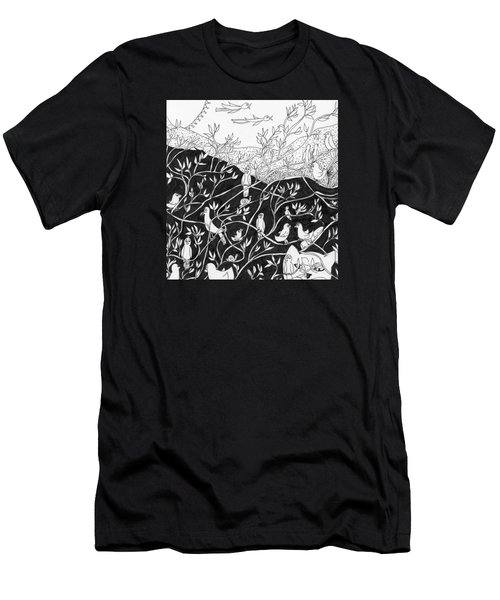 Men's T-Shirt (Slim Fit) featuring the painting Bird Convention by Lou Belcher