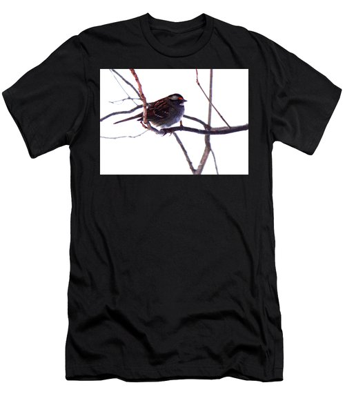 Men's T-Shirt (Athletic Fit) featuring the photograph Bird In A Winter Bush. by Roger Bester