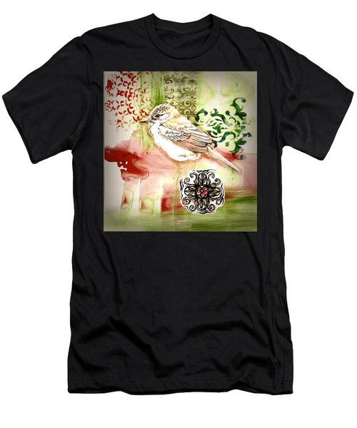 Men's T-Shirt (Athletic Fit) featuring the mixed media Bird Love by Rose Legge
