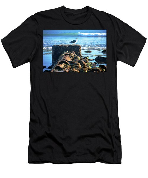 Bird On Perch At Beach Men's T-Shirt (Athletic Fit)