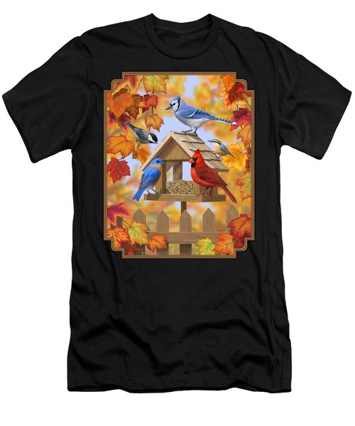 Bird Painting - Autumn Aquaintances Men's T-Shirt (Athletic Fit)