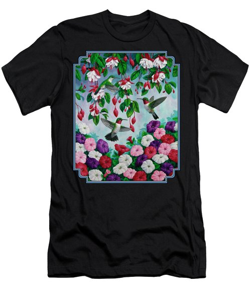 Bird Painting Hummingbird And Spring Flowers Men's T-Shirt (Athletic Fit)