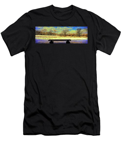 Bird Watchers Bench Winter Crabtree Nature Center Cook County Il Men's T-Shirt (Athletic Fit)