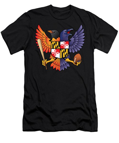 Birdland Baltimore Raven And Oriole Maryland Shield Men's T-Shirt (Athletic Fit)