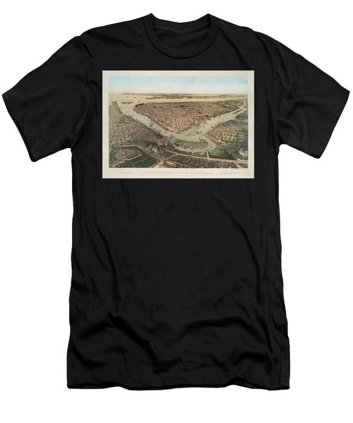 Bird's Eye View Of The City Of New York Brooklyn Williamsburg Men's T-Shirt (Athletic Fit)