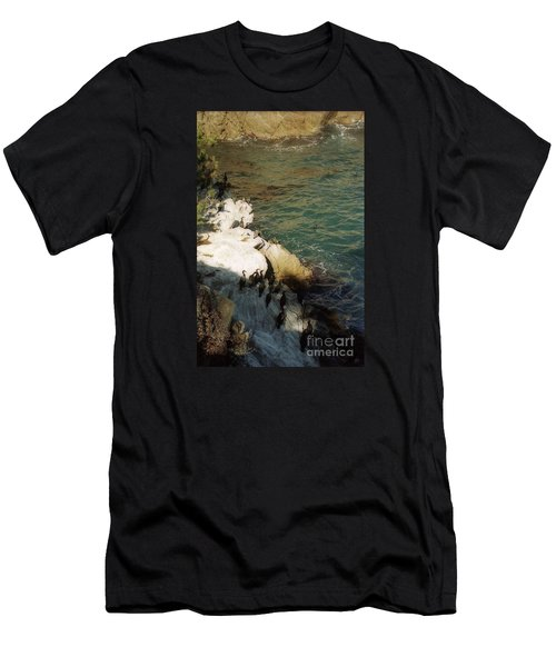 Birds On Rock Above Pacific Ocean Men's T-Shirt (Slim Fit) by Ted Pollard
