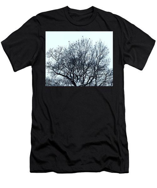 Birds On The Tree Monochrome Men's T-Shirt (Athletic Fit)