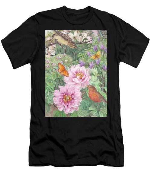 Birds Peony Garden Illustration Men's T-Shirt (Athletic Fit)
