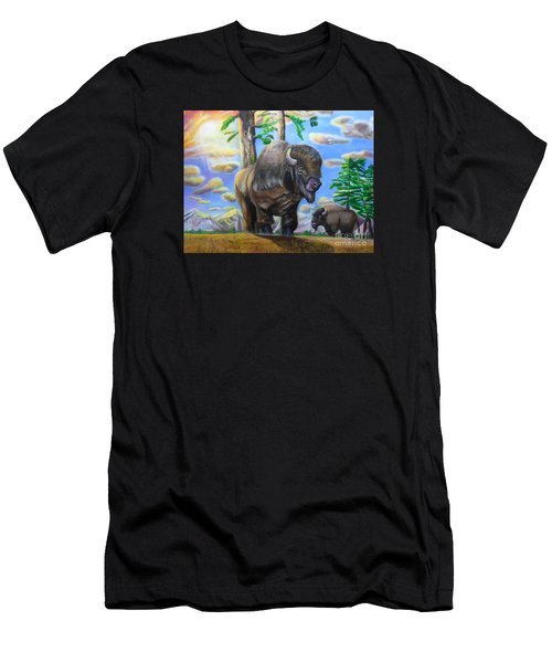 Bison Acrylic Painting Men's T-Shirt (Athletic Fit)