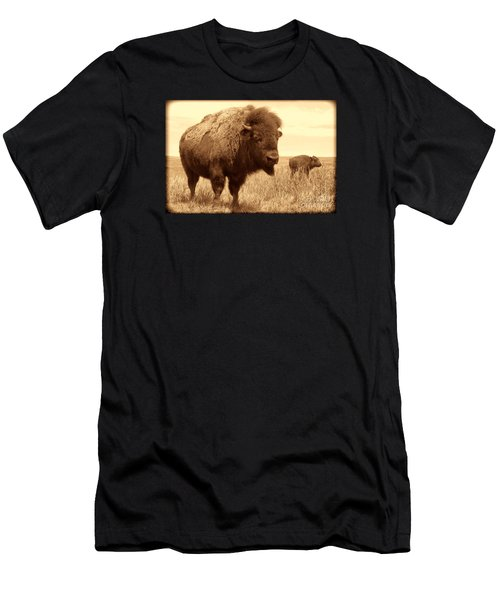 Bison And Calf Men's T-Shirt (Slim Fit) by American West Legend By Olivier Le Queinec