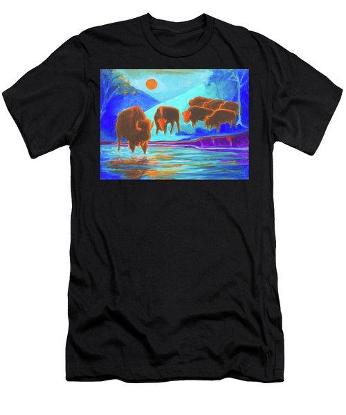 Bison Art - Seven Bison At Sunrise Yosemite Painting T Bertram Poole Men's T-Shirt (Athletic Fit)