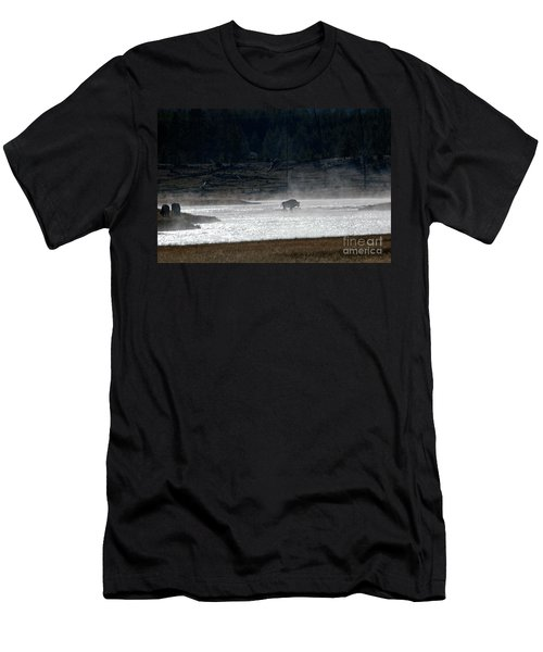 Bison In The River Men's T-Shirt (Athletic Fit)