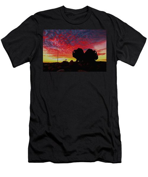 Men's T-Shirt (Slim Fit) featuring the photograph Bison Sunset by Larry Trupp