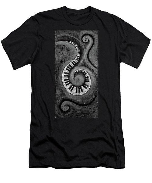 Black 3 - Swirling Piano Keys - Music In Motion  Men's T-Shirt (Athletic Fit)