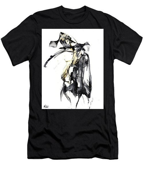 Black And White Abstract Expressionism Series 7344.072009 Men's T-Shirt (Slim Fit) by Kris Haas