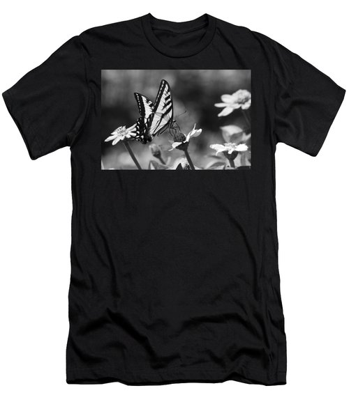 Black And White Butterfly On Flower Men's T-Shirt (Athletic Fit)