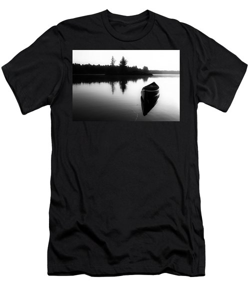 Black And White Canoe In Still Water Men's T-Shirt (Athletic Fit)
