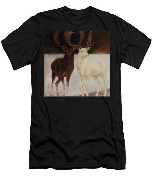 Black And White Fallow Deers Men's T-Shirt (Athletic Fit)