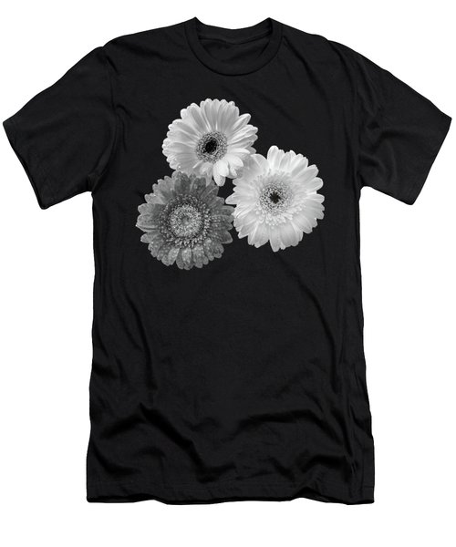 Black And White Gerbera Daisies Men's T-Shirt (Athletic Fit)