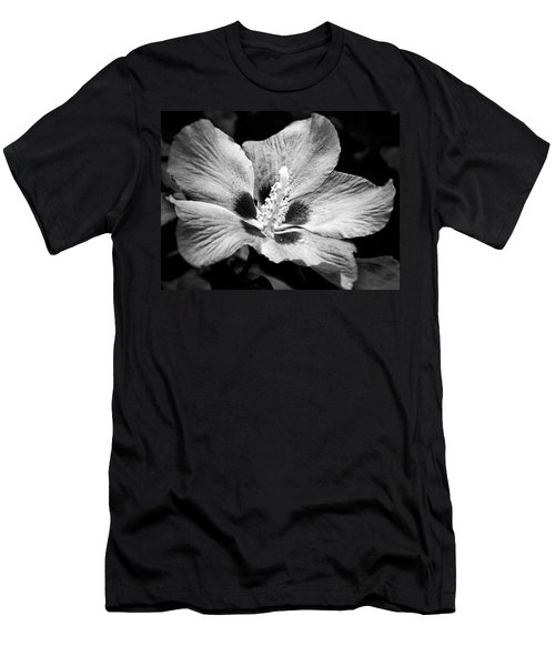 Black And White Hibiscus  Men's T-Shirt (Slim Fit) by Karen Stahlros