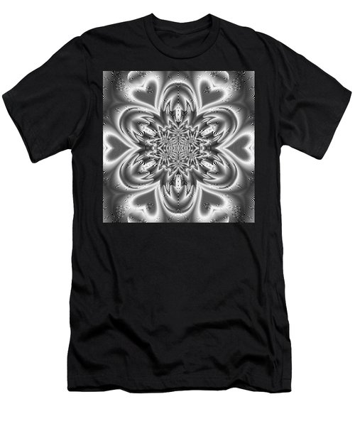 Men's T-Shirt (Athletic Fit) featuring the digital art Black And White Mandala 9 by Robert Thalmeier