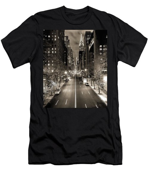 Black And White New York Men's T-Shirt (Athletic Fit)