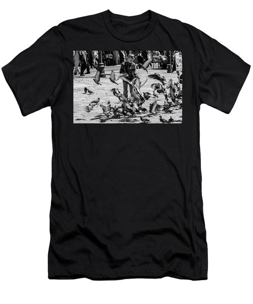 Black And White Of Boy Feeding Pigeons In Sarajevo, Bosnia And Herzegovina  Men's T-Shirt (Athletic Fit)