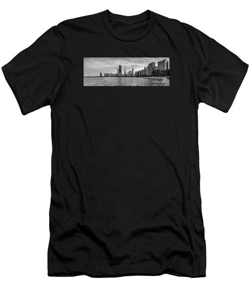Black And White Panorama Of Chicago From North Avenue Beach Lincoln Park - Chicago Illinois Men's T-Shirt (Athletic Fit)