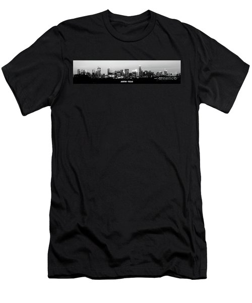 Black And White Panoramic View Of Downtown Austin Men's T-Shirt (Athletic Fit)